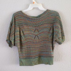 Body Central Open Knit Sweater Off Shoulder Green Mix -  Sz M
